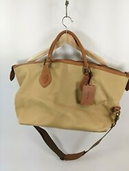 Barbour Canvas And Leather Travel Explorer Duffle Bag Medium Size Weekender $149.99