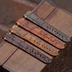 B And R Bands Italian Vintage Croco Leather Watch Band Straps 18mm 19mm 20mm 22mm