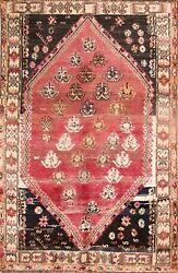 Antique Tribal Geometric Traditional Area Rug Wool Hand-knotted Nomad Carpet 5x8