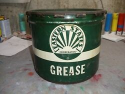 Vintage Eastern States Cooperative Grease Oil Can With Lid 25 Lbs. Old Co-op