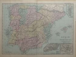1891 Spain And Portugal Hand Coloured Original Antique Map By G.w. Bacon