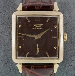 Tissot 14k Gold Filled Square Automatic Menand039s Watch With Leather Band Mov 285