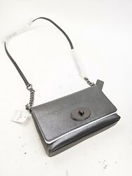 New Coach Crosstown Crossbody In Metallic Silver Pebble Leather Nwt $149.99