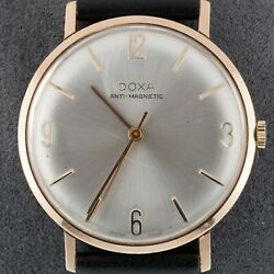 14k Rose Gold Doxa Menand039s Hand-winding Watch W/ Leather Band
