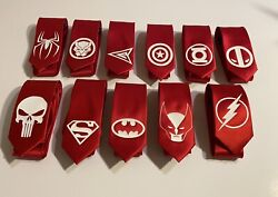 Great Superheroes Red Neckties, Great For Weddings Or Different Logos Of Choice