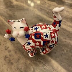Whimsiclay Amy Lacombe Signed Red White And Blue Patriotic Cat With Stars
