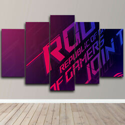 Asus Republic Of Gamers Rog 5 Piece Canvas Wall Art Game Print Home Decor