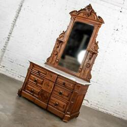 Antique Victorian Mirrored Dresser In Walnut And Burl Walnut With White Marble Top