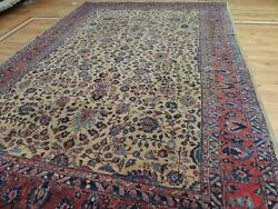 8x10 7x10 Antique Mahal Oriental Area Rug Ca1900 Beige Red Gold Wool Teal