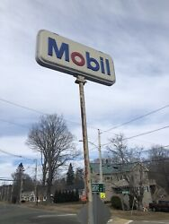 Vintage Large Double Sided Mobil Gas Oil W/ Pole