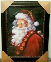 Florence Susan Comish Santa W/bells Framed Wall Portrait New Local Pick Up Only