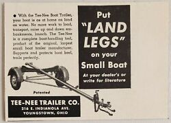 1949 Print Ad Tee-nee Boat Trailers For Small Boats Youngstownohio