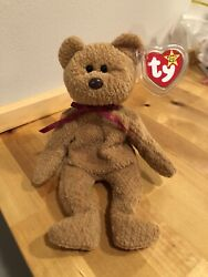 Retired Ty Beanie Baby Curly The Bear 1996. Pvc. Tag Errors. Rare Style 4052