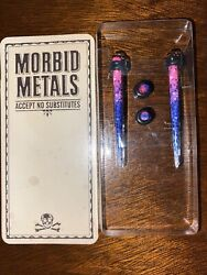 8g Morbid Metals Pink Purple And Blue Glitter Ear Gages
