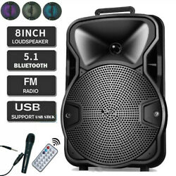 8#x27;#x27; Portable FM Bluetooth Speaker 1000W Subwoofer Heavy Bass Sound System Party