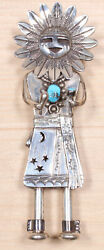 Nelson Morton Navajo Sterling Silver And Tuquoise Kachina Brooch Dkd X851c