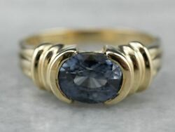Vintage East To West Sapphire Gold Solitaire Ring
