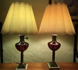 Czech Bohemian Crystal Cherry Red Cut To Clear All Original Lamp