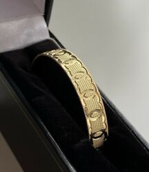 9ct Yellow Gold Baby Childrens Patterned Bangle 375 Hallmarked Brand New