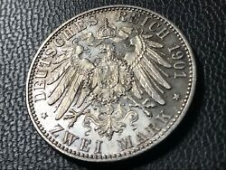 German Empire 2 Mark, 1901 200 Years Of Prussia Light Patina