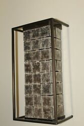 Mid-century Wall Sconces Mica Shades Solid Brass Frames Bronze Finish