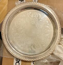 Wm Rogers And Son Spring Flower 2072 15 Pierced,etched Silver-plated Serving Tray