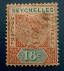 Seychelles 1890 Queen Victoria - Shading Lines At Ri. Rare And Collectible Stamp.