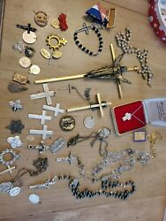 Vintage Lot Religious Cross Rosaries Beaded Sterling Mixed