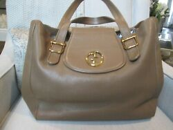 Tan Beige 1973 Pebbled Leather Double Strap Tote With Gold Hardware