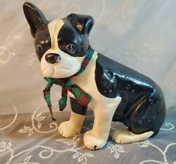 Vtg Metal Boston Terrier Dog Puppy with Plaid Bow Door Stop Statue Durable Cute