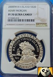 2000 Bvi 20 Dollars Ngc Top Pop Pf70 Pirate Henry Morgan Silver Proof Coin