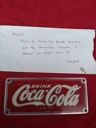 Coca Cola Collectable Metal Sign From The Paramount Theater In Atlanta 1960 Coke