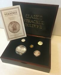 1993 Mexico Veracruz .999 Gold And Silver Proof Set In Chest Pre Columbian Series
