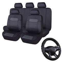 Car Seat Covers Leather Universal Gray Black Car Steering Wheel Cover Leather