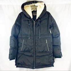 Sam Edelman Faux Shearling Lined Puffer Fleece Hooded Coat Size M NWT $68.00