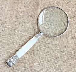 Sterling Silver Rimmed Mother Of Pearl Magnifying Glass Sheffield 1859