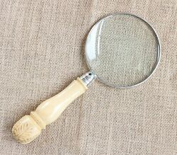 Sterling Silver Rimmed Antique Carved Handle Magnifying Glass