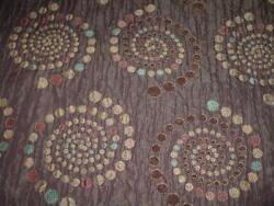 Vtg 90s Geometric Circles Tapestry Upholstery Pillow Remnant Fabric 56x33 #PE