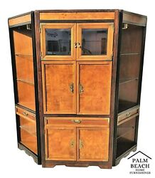 3 Piece Broyhill Asian Chinoiserie Lighted Dry Bar Cabinet With Display Cases
