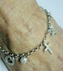 Sterling Silver Nos Good Luck Charm Bracelet With 10 Dangle Charms Religious