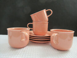 Nancy Calhoun Japan Solid Light Peach Lot Of 4 Cup And Saucer Sets Stoneware