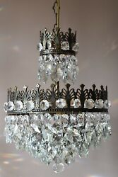 Antique French Vintage Crystal Chandelier Pendant Home Interior Lighting Lamp