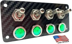 Real Carbon Fiber Panel With 4 Silver Toggle Switches And Green Led Indicators
