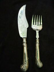Antique English Silver Plate Fish Knife And Fork Server Engraved Vintage 1900and039s