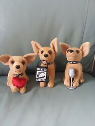 New Talking Taco Bell Chihuahua Set Of 3 - Lot, Working Toy