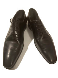 Stefano Ricci Mens Embossed Genuine Leather Dress Or Derby Shoes Black 7 To 7.5
