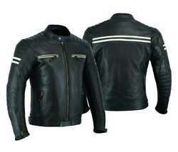 Mens Motorcycle Bikers Armored Perforated Leather Jacket Black/white Mj-3027a