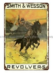 Smith Wesson Revolvers Firearm Western Horse Cowboy Guns Metal Tin Sign