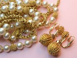 Crown Trifari Signed Vintage 1962 Electra Collection Necklace And Earrings.