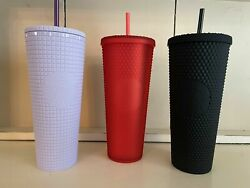 New 2021 Starbucks Matte Red, Lilac, And Black Studded Cold Tumbler 24 Oz.